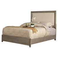 Camilla Panel Bed - Antique Gray, Upholstered Headboard, Nailheads