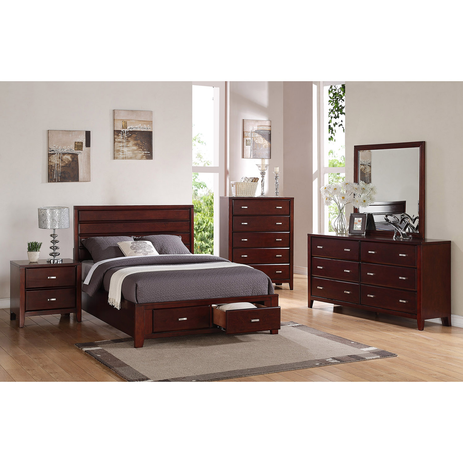 Carrington Storage Bed - Merlot - ALP-CA-BED