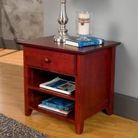 Portola Nightstand - 1 Drawer, 2 Shelves, Light Cherry