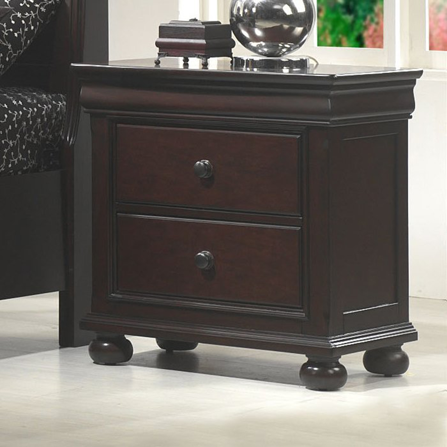 Hyde Park 2-Drawer Nightstand - Merlot - AW-1310-NS
