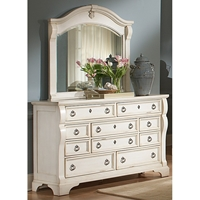 Heirloom Dresser and Mirror Set - Antique White, 10 Drawers