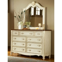 Chateau Antique White Dresser and Mirror Set