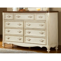 Chateau Antique White 9-Drawer Dresser