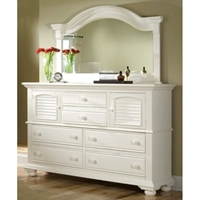 Cottage Traditions 6-Drawer Dresser and Mirror Set in Eggshell White