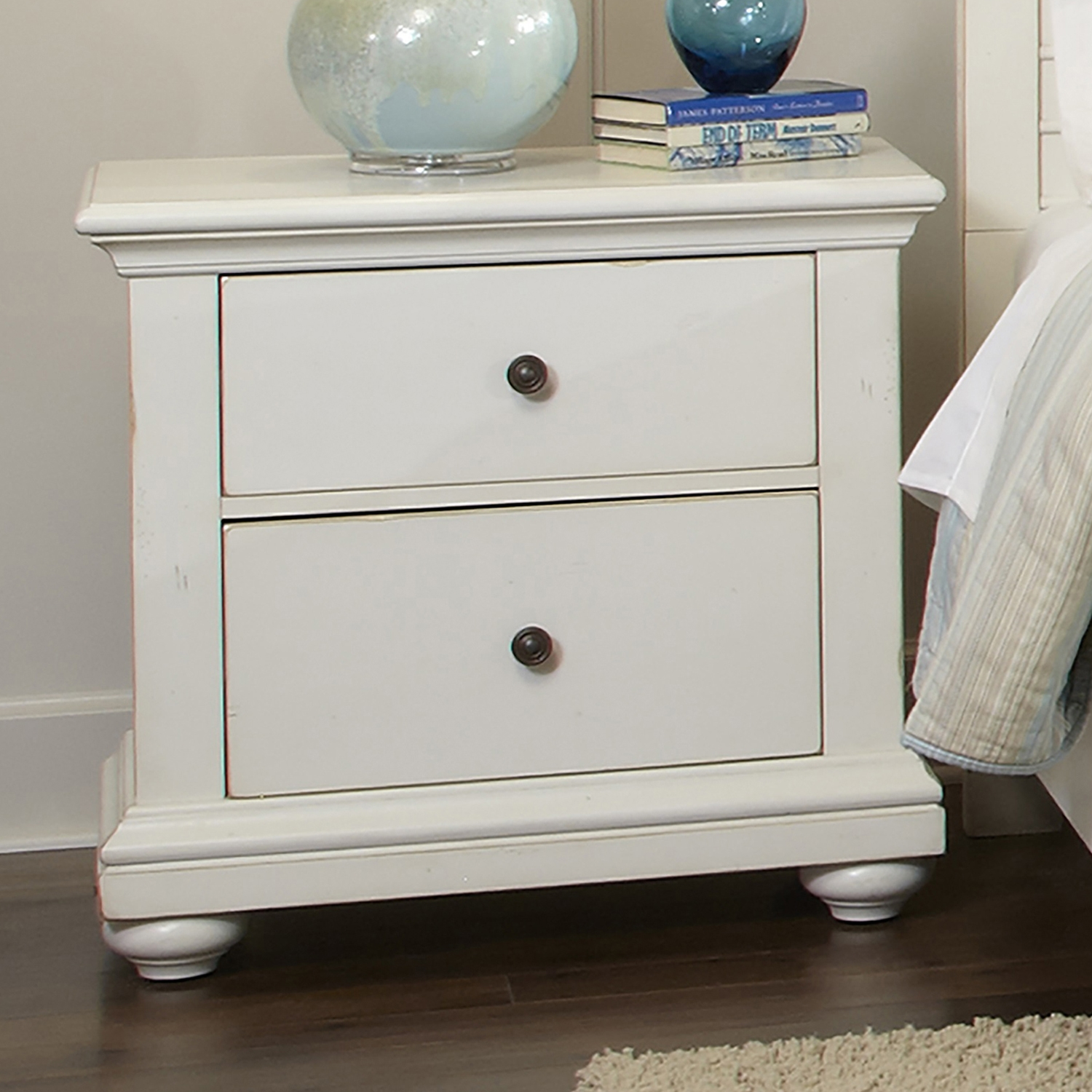 Pathways 2-Drawer Nightstand in Antique White