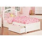 Windsor Flat Panel Foodboard Bed - 2 Flat Panel Drawers, White