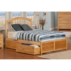Windsor Flat Panel Foodboard Bed - 2 Flat Panel Drawers, Natural