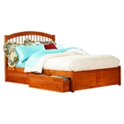 Windsor Flat Panel Foodboard Bed - 2 Flat Panel Drawers, Caramel Latte