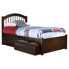 Windsor Twin XL Platform Bed - 2 Flat Panel Drawers, Flat Panel Foodboard