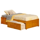Concord Wood Bed - 2 Urban Bed Drawers, Flat Panel Foot Board