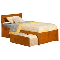 Orlando Wood Bed - Flat Panel Foot Board, 2 Urban Bed Drawers