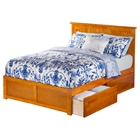 Nantucket Flat Panel Foot Board Bed - 2 Drawers, Platform