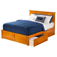 Nantucket King Flat Panel Foot Board Bed - 2 Drawers, Platform