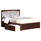 Mission King Platform Bed - 2 Urban Bed Drawers, Flat Panel Foot Board