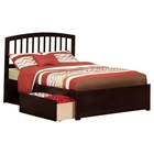 Richmond Platform Bed - Flat Panel Foot Board, 2 Urban Bed Drawers