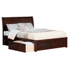 Portland Queen Flat Panel Foot Board Bed - 2 Drawers, Platform