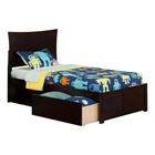 Metro Flat Panel Foot Board Bed - 2 Drawers, Platform