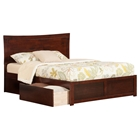 Metro Queen Flat Panel Foot Board Bed - 2 Drawers, Platform