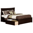 Metro King Flat Panel Foot Board Bed - 2 Drawers, Espresso