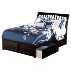 Orleans Wood Bed - Flat Panel Foot Board, 2 Urban Bed Drawers, Espresso