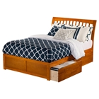 Orleans Wood Bed - Flat Panel Foot Board, 2 Urban Drawers, Caramel Latte
