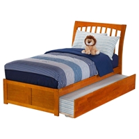 Orleans Twin Wood Bed - Flat Panel Foot Board, Urban Trundle Bed