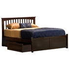 Brooklyn Bed w/ Flat Panel Footboard and Raised Panel Drawers