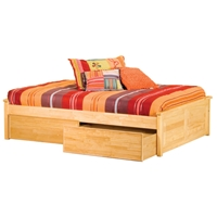Concord Platform Bed w/ Raised Panels and Flat Panel Drawers