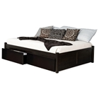 Concord Platform Bed w/ 2 Flat Panel Footboards and Flat Panel Drawers in Espresso