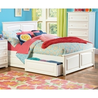 Monterey Platform Bed w/ Raised Panel Footboard and Drawers in White