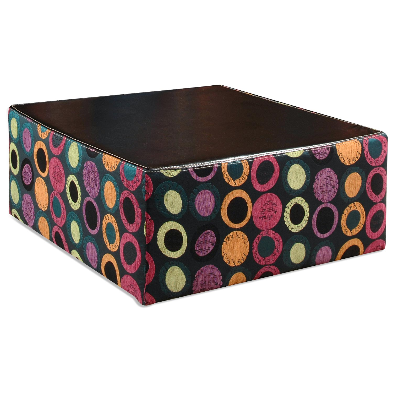 Lauren Upholstered Coffee Table - Multicolored Circles