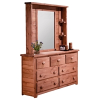 7-Drawer Dresser & Mirror Hutch - Bead Board, Mahogany Finish