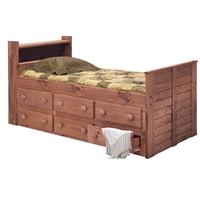 Twin Captain%27s Bed - Bookcase Headboard, Mahogany Finish