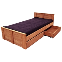 Twin Panel Bed - Under Bed Storage, Mahogany Finish
