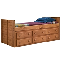 Twin Panel Bed - 6 Drawers, Mahogany Finish