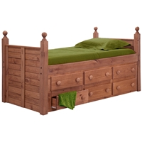 Twin Panel Post Bed - 6 Drawers, Mahogany Finish