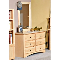 6-Drawer Dresser & Portrait Mirror - Desert Sand Finish