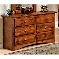 6-Drawer Dresser - Bead Board, Cocoa Finish