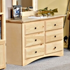 6-Drawer Dresser - Bead Board, Desert Sand Finish
