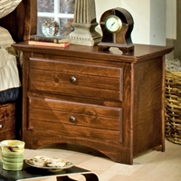 2-Drawer Nightstand - Bead Board, Cocoa Finish