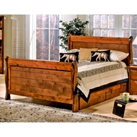 Full Sleigh Bed - Bead Board Panels, Under Bed Storage, Cocoa