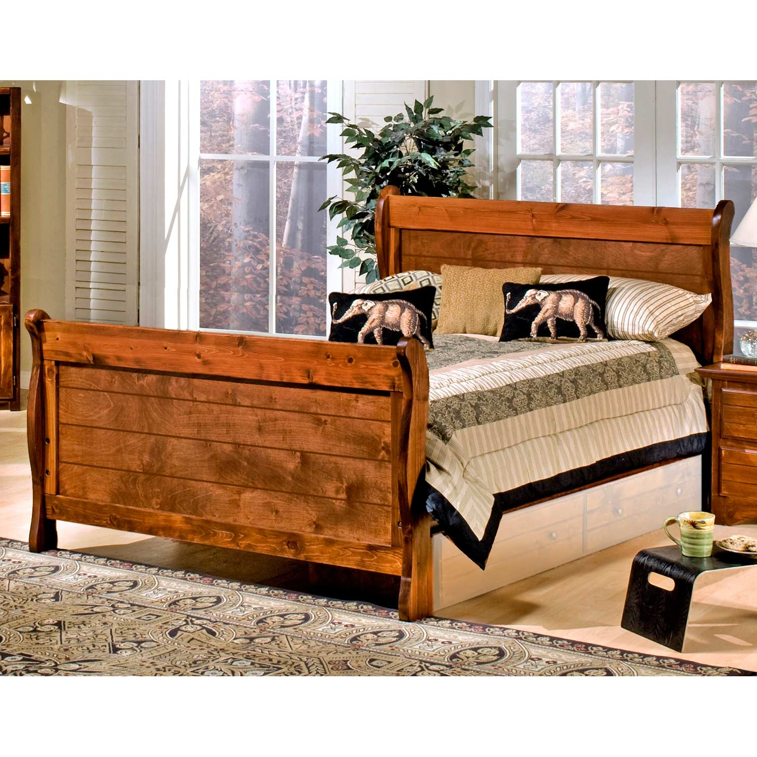 Full Sleigh Bed - Bead Board Panels, Cocoa Finish