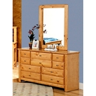 9-Drawer Dresser & Portrait Mirror - Oval Knobs, Caramel