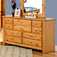 9-Drawer Dresser - Oval Knobs, Caramel Finish