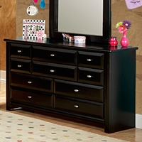 9-Drawer Dresser - Oval Knobs, Black Cherry Finish