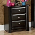 3-Drawer Nightstand - Oval Knobs, Black Cherry Finish