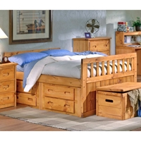 Full Storage Bed - Under Bed Drawers, Cinnamon Finish