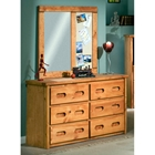 6-Drawer Dresser & Mirror - Cork Board, Cinnamon Finish