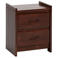 2-Drawer Wooden Nightstand - Recessed Handles, Dark Brown