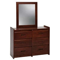 6-Drawer Wooden Dresser & Mirror - Dark Brown